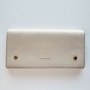 Burberry Two-Tone Pebbled Wallet - Beige/Gray